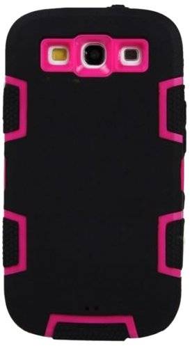 Mylife (Tm) Dark Black And Vibrant Pink - Classic Robot Armor Series (3 Piece Neo Hybrid Flexi Case + Urban Body Armor Glove) Case For Samsung Galaxy S3 Gt-I9300 And Gt-I9305 Touch Phone (Thick Silicone Outer Gel + Tough Rubberized Internal Shell)