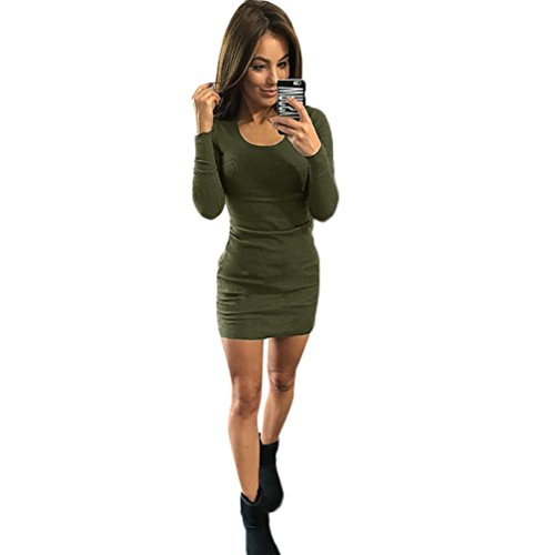 Reasoncool Dress Slim manica lunga Solid donne sexy di modo (XL, Army Green)