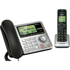 Corded/Cordelss Phone w/Dig Ans Machine, BK/SR