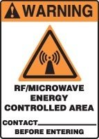 """Warning Rf/Microwave Energy Controlled Area Contact ___ Before Entering 14"""" X 10"""" Dura-Plastic Sign"""