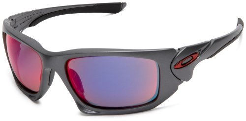 Oakley Men's Scalpel Iridium Sport Sunglasses,Dark Grey Frame/Red Iridium Lens,one size