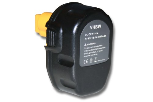 Batteria NI-MH nera per DEWALT sostituisce DC9091, DE9038, DE9091, DE9092, DE9094, DE9140, DE9141, DE9502, W9091, DW9094 3000mAh 14.4V