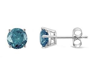 1.00 CTTW Blue Diamond Studs in 14K gold