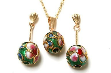 9ct Gold Oriental Green Enamel Ball Pendant and Earring set.