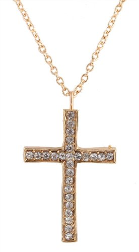 Ladies Gold Iced Out Cross Pendant with a 22 Inch Adjustable Link Chain Necklace