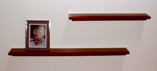 Dark Cherry Wood Floating Wall Shelves