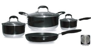 Gourmet Chef Induction Ready 7-Piece Non-Stick Cookware Set, Black