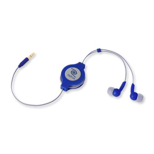 Retrak Retractable Stereo Earphones, Blue And Silver (Etaudiodal)