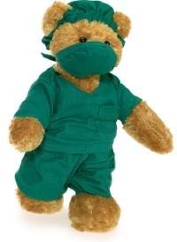 Doctor Teddy Bear In Green Surgeon Scrubs