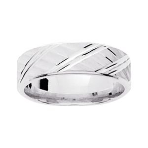 So Chic Jewels - 9k White Gold 6 mm Fantasy Pattern Wedding Band Ring