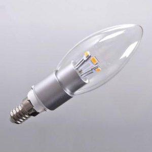 Crystalplace Led Lightbulb 3 Watt Clear Dimmable Candelabra Base Straight Tip Warm Light 2700K E12 120 Volt, Brightest 40 Watt Bulb Replacement