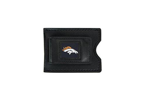 NFL Denver Broncos Men's Leather Money Clip and Card Case, 3.5 x 2.75