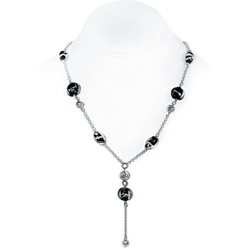 925 Sterling Silver Necklace with Black Glass and Sterling Silver Beads