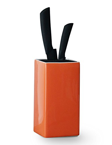 Porcelain Knife Block - Universal Ceramic Holder without Knives for Kitchen, Square & Orange - by Sweese