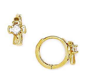 14ct Yellow Gold CZ Cross Hinged Earrings - Measures 10x13mm