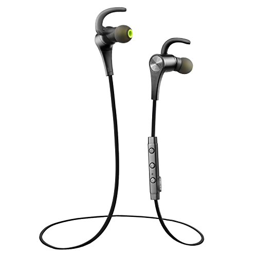 Bluetooth Earphones, SoundPEATS Q12 Bluetooth 4.1 Sports Headphones with Mic for Sports, aptX, Magnetic, In-Ear Secure Fit for all Bluetooth-enabled devices (Black)