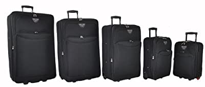 "5 Cities® Lightweight Trolley Luggage Suitcase - 18"" (2.20kg, 22 litre, 48X32X19 + 3 EXP), 21"" (2.50kg, 31 litre 51X35X20 + 3EXP), 26"" (3.25kg, 62 litre, 65x43x22cm), 29"" (3.80kg, 84 litre, 73x46x25cm), 32"" (4.30Kg, 113 litre, 81x50x28cm)"