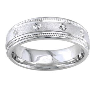 Women's 14k White Gold Studded Comfort-Fit Wedding Band (6.50 mm)