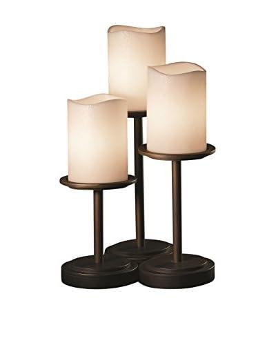 Justice Design Group Dakota 3-Light Table Lamp, Dark Bronze/Cream