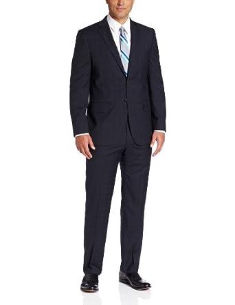 Joseph Abboud Men's Super 120'S Wool Windowpane Suit With Flat Front Pant, Navy, 36 Medium/Regular