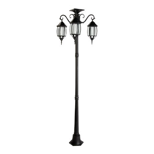 ft 80 in tall solar lamp post and planter 3 heads black. Black Bedroom Furniture Sets. Home Design Ideas