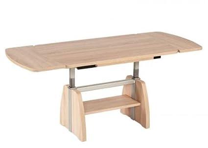 Mesa de centro cuatro casa I-7268-ESP decoración de roble claro; 125/68 cm extensible y altura regulable