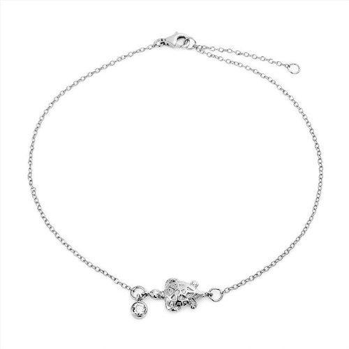 Браслет на ногу Bling Jewelry 925 Sterling Silver Bezel Set CZ Charm Nautical Turtle Anklet 9in