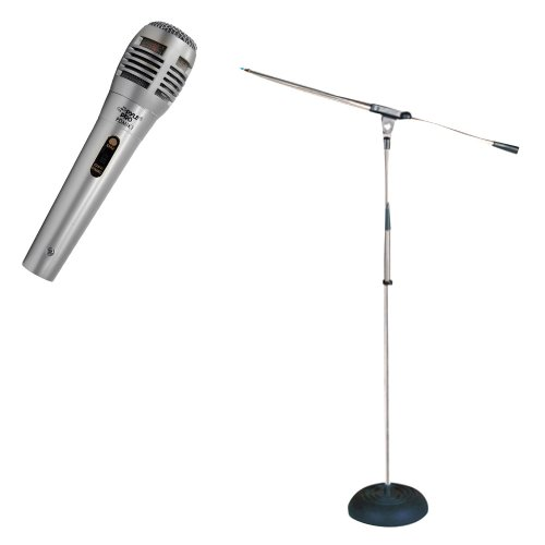 Pyle Mic And Stand Package - Pdmik1 Professional Moving Coil Dynamic Handheld Microphone - Pmks9 Heavy Duty Compact Base Boom Microphone Stand