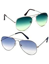 Sheomy Aviator Combo Pack Of Mirrored Unisex Sunglasses (Silver_Blue_Silver_Green|55|Multicolour) - 2 Boxes