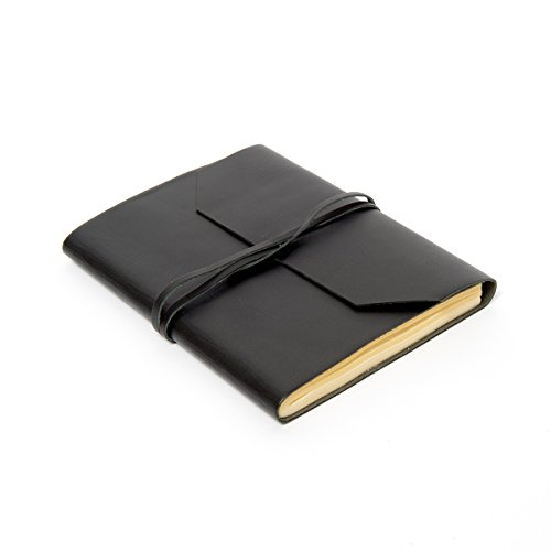 "Sitara Collections Handmade Genuine Leather Journal/Notebook with Wrap Tie Closure, Black, 6"" X 8"" (SC9061)"