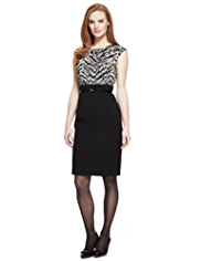 M&S Collection Abstract Print Dress with Belt