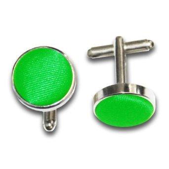 New DQT Plain Fabric Silver Plated Cufflinks (Apple green)