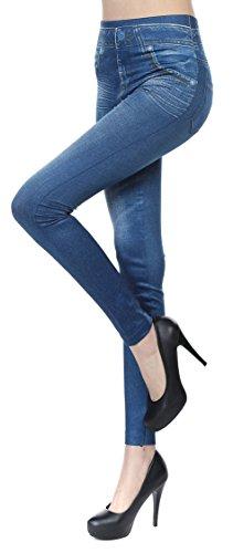 Women's Denim Print High Waist Blue Jean Leggings Seamless Skinny Jeggings L