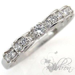 プレジュール ダイヤモンド 指輪 リボン K18 ピンキーリング ファランジリングK18イエローリングサイズ9号