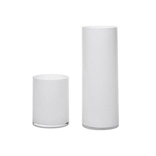 Vase Opal Zylinder weiß H40cm