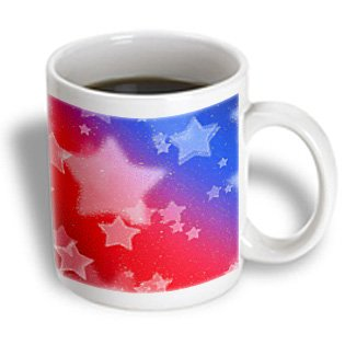 3Drose Mosaic Stars In Patriotic Colors Ceramic Mug, 15-Ounce