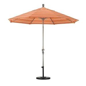 9' Aluminum Auto Tilt Market Umbrella Fabric: Sunbrella A Brass