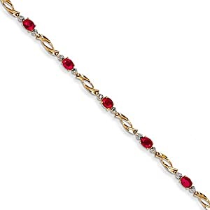 14K Yellow Gold Diamond and African Ruby Oval Bracelet, 7.25 inches, Charming Bracelets For Women