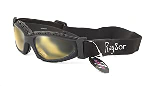 Rayzor Professional UV400 Black 2 In 1 Cycling - MTB Sunglasses / Goggles, With a Clear Yellow Anti-Glare Clarity Lens and a Detachable Elasticated Headband & Inner Foam Padding
