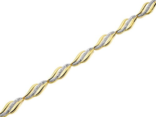 F.Hinds Womens Jewellery 9ct Real Yellow Gold Diamond Outstanding Wavy Bracelet Chain bangle