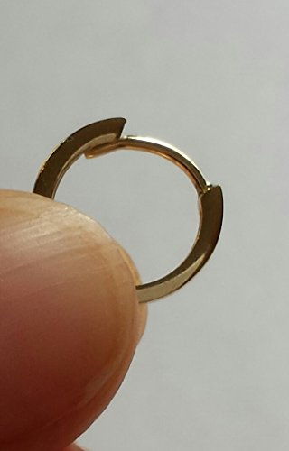 Small 14K Gold Wide Huggie Hoop Earrings with Hidden Post, 0.4 in (11mm) (1.5mm Wide) (Yellow)