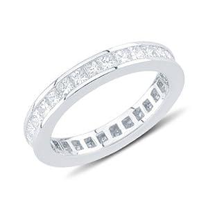 Alluring Princess Cut Diamond Eternity Wedding Band In 14K White Gold