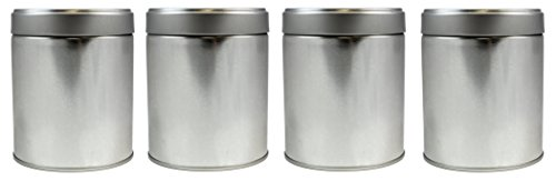 4-Pack Tea Storage Tins, Twist Lock Top Tea Storage Tins (Set of 4)
