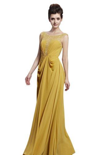 CharliesBridal Bateau Neck Backless Floor Length Evening Gown - XS - Yellow