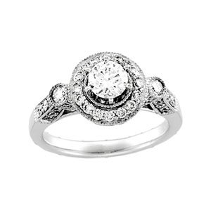 9/10 ct tw Vintage Semi-Set Diamond Engagement Ring