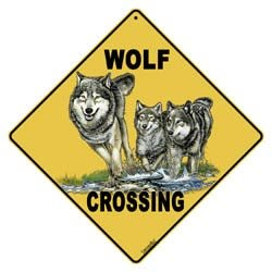 X028 - Wolf Crossing sign