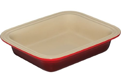 Le Creuset Stoneware 8-1/2-By-10-3/4-Inch Deep Dish Baker, Cherry