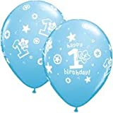 1st Birthday Boy Circle and stars Latex Balloons
