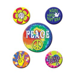 60's Party Buttons (asstd designs)    (5/Pkg)