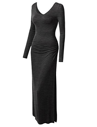 Thanth Womens Long Sleeve Rayon Maxi Dress, Charcoal, XL